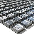 Glasmosaik Fliesen 23x23x8mm Silber Metall von Mosafil auf TapetenShop