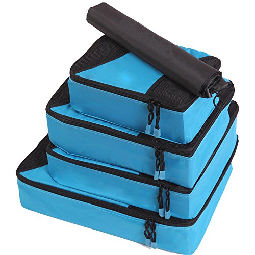 Fubevod Travel Luggage Organiser Clothes Packing Cube Bags for Suitcases Value Set 4 Blue