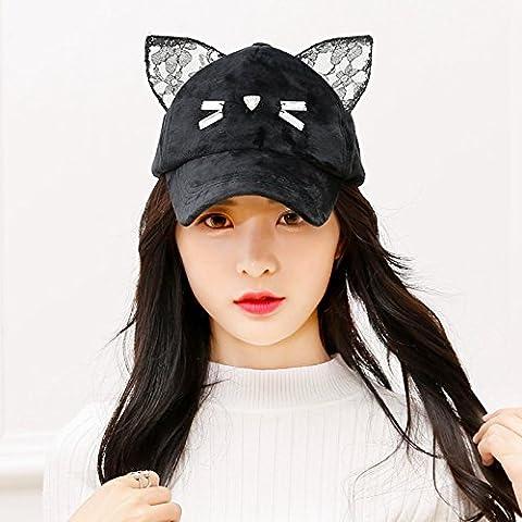XRQ-La main, chat mignon oreilles, chapeau, casquette, chapeau tordu, baseball