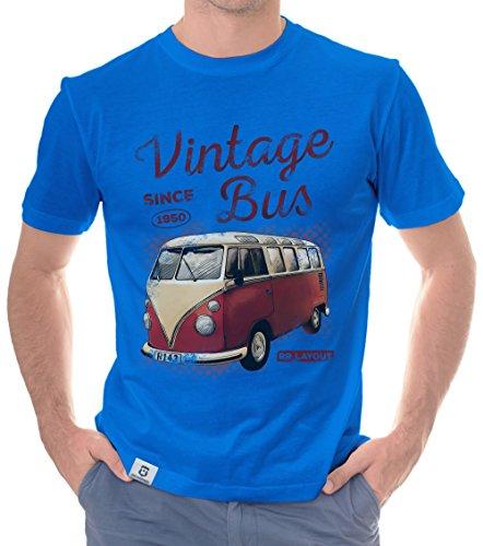 Herren T-Shirt - Vintage Bus - Since 1950 Royalblau-Rot XL (36 Wagen)
