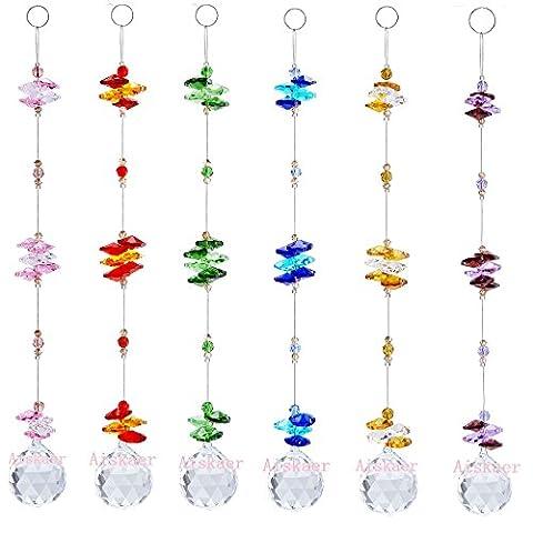 DerBlue 6PCS 1.2 Inch Colorful Chandelier Crystal Ball Prisms Pendant, Chandelier Decor Hanging Prism Ornaments,Chandelier Crystals Ball window Prisms Rainbow Octogon Chakra Suncatcher