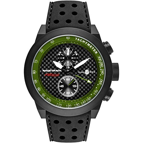 Glam Rock Men's Racetrack 48mm Black Silicone Band IP Steel Case Swiss Quartz Analog Watch GRT29117F-N