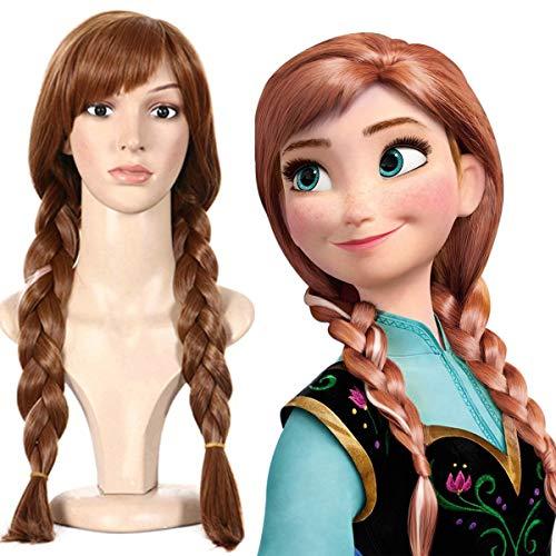 Rosahaar Perücke Braune Lang Cosplay Perücken für Frozen Anna Zöpfe Geflochten karneval fasching Damen/Kind wig (Anna Womens Kostüm)