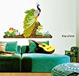 #10: Decals Design 'Peacock Bird' Wall Sticker (PVC Vinyl, 60 cm x 90 cm)