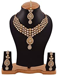 Bold & Beautiful Kundan Necklace Set With Earrings & Maangtika