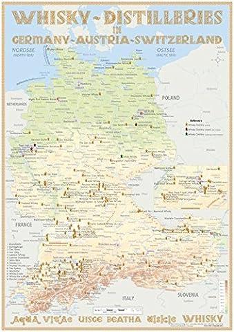 Whisky Distilleries Germany-Austria-Switzerland - Tasting Map 24x34cm: Laminierte Landkarte der
