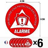 Lot de 6 autocollants / stickers Alarme sécurité / 6 cm   Design #2