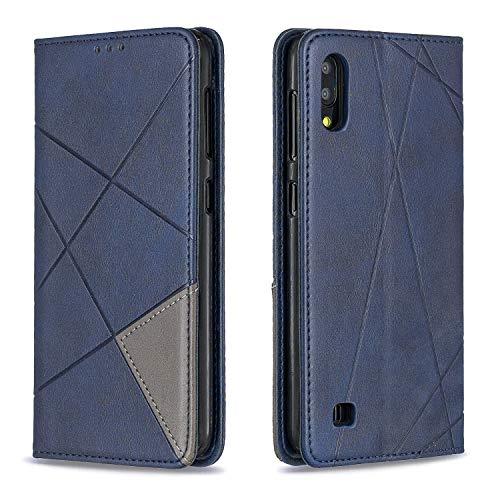FNBK Kompatibel mit Hülle Samsung Galaxy A10 Ledertasche Flip Wallet Tasche Slim Handyhülle Leder Folio Bookstyle Schutzhülle TPU Innenraum Case Schlanke Stander Kartenfach Magnet Handytasche,Blau