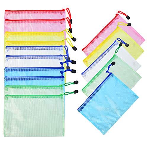 lystaill 15Stück A5Reißverschluss Datei Tasche PVC-Netzstoff Dokument Tasche Geldbörse (Kunststoff für Büro Schule Supplies Reisen