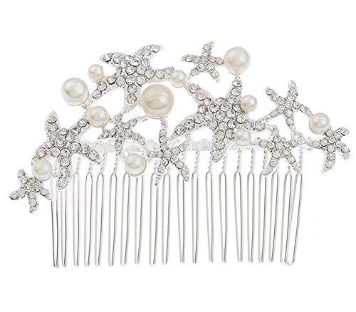 Doitsa Brautschmuck Haarklammer Versilbert Eleganter Strass Seestern mit Perlen Hochzeit Damen Braut Haarschmuck Haarpins DIY Braut Frisur