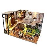 Godbless Puppenhaus Süß DIY Puppenhaus mit Licht ALS Kinder Geschenk (Gemütlicher Raum)