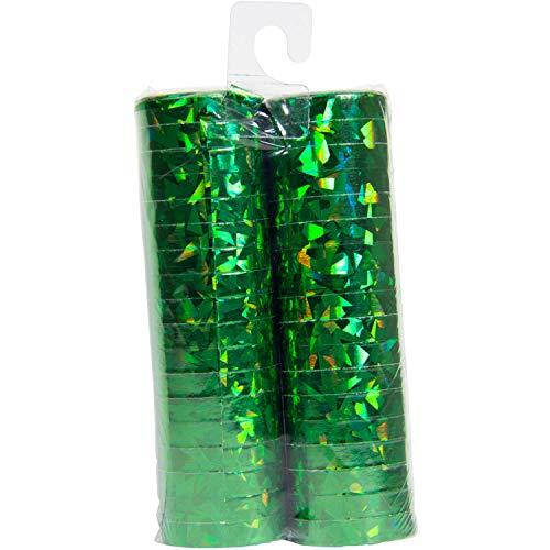 Folat Luftschlangen Holographisch Grün 4m - 2 Stück - Luftschlangen Grüne