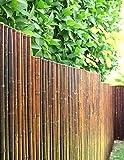 DE-COmmerce Robuster Bambus Holz Sicht Schutz Zaun ATY NIGRA I hochwertiger Windschutz Terrasse, Balkon, Garten I Bambusrohr Zaun mit geschlossenen Rohren 150 cm x 500 cm