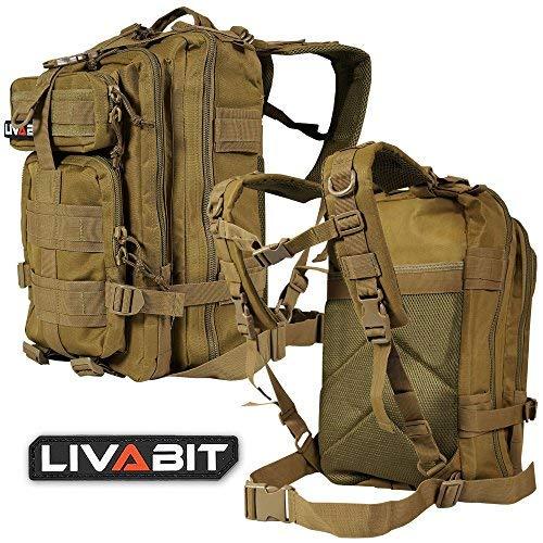 LIVABIT Tactical EDC 3Day Assault Bug Out Bag Rucksack Carrier, Desert Tan, Desert Tan -