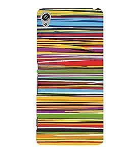 PrintVisa Color Stripes Pattern 3D Hard Polycarbonate Designer Back Case Cover for Sony Xperia XA