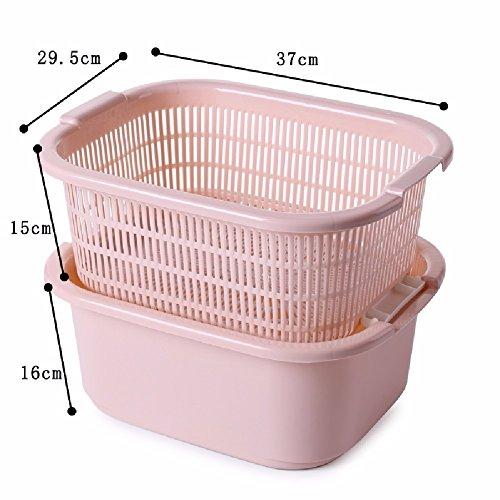 ZPSPZ Küchenregal Double Stack Abfluss Korb Mit Kunststoff - Drain Sieb Und Waschen Korb Von Obst Und Gemüse,Pink