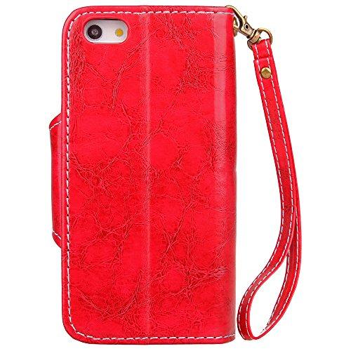 EKINHUI Case Cover Retro dünne Geschäfts-Art-Leder-Kasten-magnetischer Knopf-Verschluss-Luxuxmappen-Standplatz-Beutel-Kasten-Abdeckung mit Lanyard für iPhone 5 u. 5s u. SE ( Color : Brown ) Red