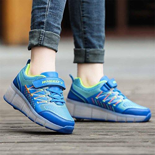 Scarpe da skateboard scarpe sportive ragazzi e ragazze scarpe sportive, scarpe da skateboard coolie neutro con luci a LED lampeggianti skateboard ruote pattini ruota pattinare scarpe Blue