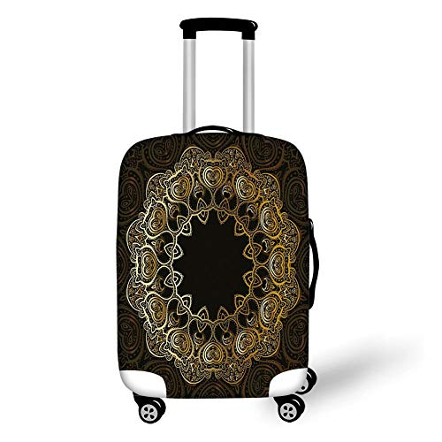 Travel Luggage Cover Suitcase Protector,Gold Mandala,Ring Shaped Mandala with Blossoms and Hearts Tribal Sacred Elements Decorative,Gold Black Yellow,for Travel,M (Ring Rolling Gold)