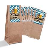 25 kleine braune Bayern-Tüten + Pergamin-Einlage und Boden (7 x 20,5 x 4 cm) + Sticker Banderole 'Schee, dass´d do bist' im bayerischen Stil in blau weiß kariert Tischkarten Kekse Pralinen Gebäck