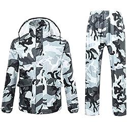Chaqueta impermeable para hombre o mujer con capucha, diseño camuflado de Ynport Crefreak, hombre, gris, XX-Large