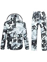 Chaqueta impermeable para hombre o mujer con capucha, diseño camuflado de Ynport Crefreak, hombre, gris, Large