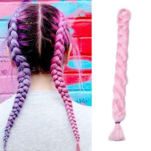 41'(104cm) Extensiones de Pelo Sintético para Trenzas Africanas Cabello No Destiñe y Se Ve Natural Crochet Braiding Hair Extension Trenzas Postizas (165g,Rosa)