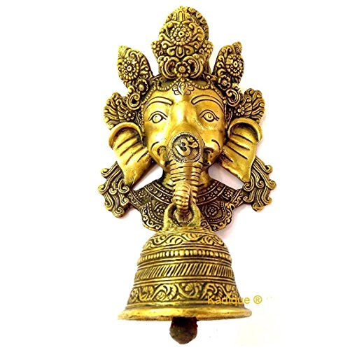 972b5a3310b 32% OFF on Kartique Brass Ganesha Face Wall Hanging with Bell on Trunk(Buy