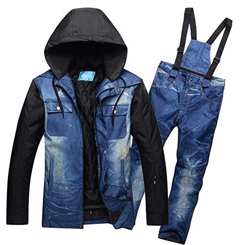 Shuibian Skihose für Herren Damen Wasserdichte Atmungsaktiv Warm Hose Casual Hosenträger Im Freien Winter (XXL+3XL, Dunkelblaue Jeansjacke +Hellgrau Jeans)
