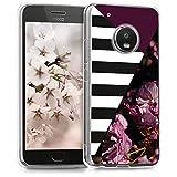 kwmobile Motorola Moto G5 Plus Hülle - Handyhülle für Motorola Moto G5 Plus - Handy Case in Pink Schwarz Weiß