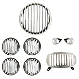 #9: AllExtreme Rear Customized Head light Heavy Grill Set Indicator, Parking, Tail Light Grill For Royal Enfield Electra - Silver & Black