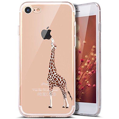iPhone 7 Hülle,iPhone 7 Silikon Hülle [Kratzfeste, Scratch-Resistant],JAWSEU Creative Design Cute Silikon Crystal Clear Schutzhülle Transparent TPU Giraffe Essen des Apfels Muster Handyhülle Stoßdämpf Giraffe Essen des Apfels