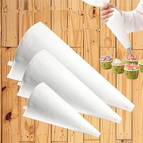 Joyeee 3 Größe Profi wiederverwendbares Silikon Spritzbeutel-Set, Fugenfüller-Beutel - Dekorieren für Zucker Handwerk, Cupcakes, Torten, Makronen Dekorieren Taschen Set - Baumwolle, Weiß