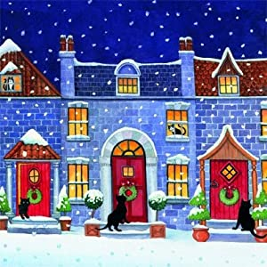 'Christmas Visitors' Black Cat 10 pack of small square Xmas cards