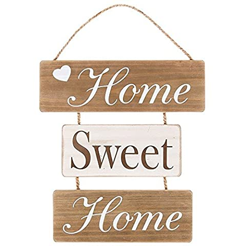 Home Sweet Home Shabby Chic Soft Wood Style Strung Hanging Wall Sign