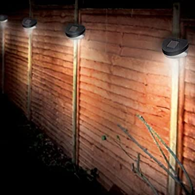 12 Solar Powered 2 LED Best Artificial Bulb Fence Lights Outdoor Wall Garden Door Lighting Shed Path New