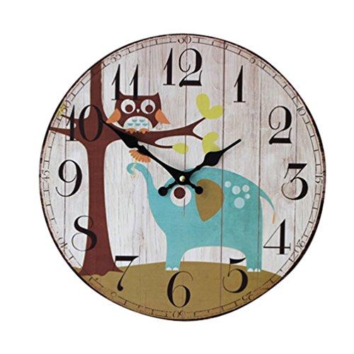 YOUJIA Reloj redondo de pared, Vintage Reloj de Madera para Sala de Estar, Habitaciones, Cocina, Hogar Décor (Elefante & Búho, 35cm)