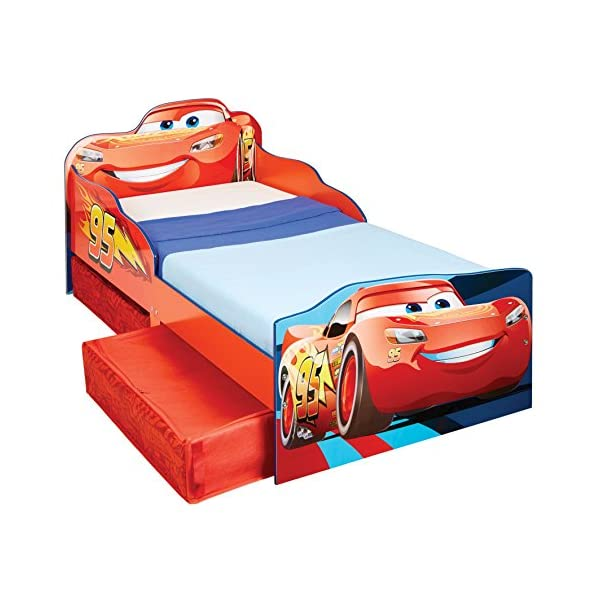 Hello Home Disney Cars Kids Toddler Bed with underbed Storage, Wood, Red, 143x77x63 cm  Perfect for transitioning your little one from cot to first big bed The perfect size for toddlers, low to the ground with protective side guards to keep your little one safe and snug Two handy underbed, fabric storage drawers 4