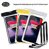 pinlu® 3 Pack IPX8 Wasserdichte Tasche, für Smartphones bis 6 Zoll, für Wiko Pulp Fab 4G, Wiko Pulp 3G, Wiko Pulp 4G, Wiko Rainbow 3G, sandproof Protective Shell -Schwarz+Weiß+Gelb