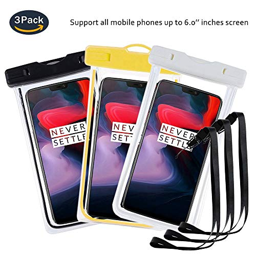 pinlu® 3 Pack IPX8 Wasserdichte Tasche, für Smartphones bis 6 Zoll, für Doogee Nova Y100X, Doogee Kissme DG580, Doogee Valencia2 Y100 Pro, sandproof Protective Shell -Schwarz+Weiß+Gelb
