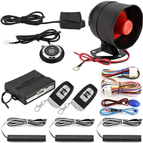 Qii Lu Smart PKE - Sistema di allarme passivo per auto, senza chiave, con pulsante di avviamento del motore, kit start/stop per veicoli, sensore d'urto, blocco di sicurezz