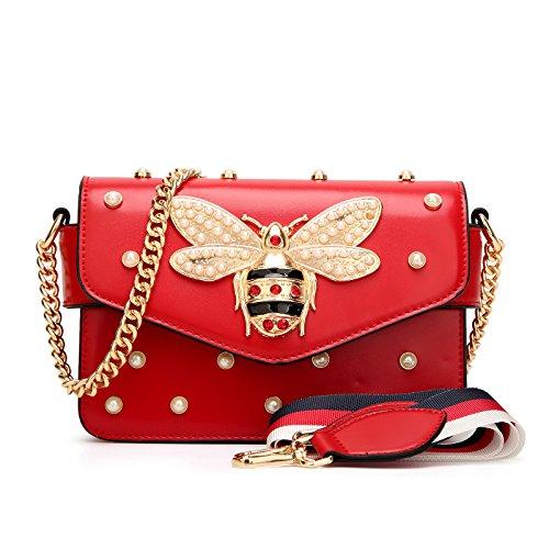 2018 Der Gleiche Absatz Biene Perle Tasche Schrägen Nieten Kette Tasche Umhängetasche,Rot-One Größe - Perlen-leder-schulter-tasche