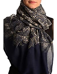 Large Floral Printed Lace On Dark Blue - Blue Floral Scarf