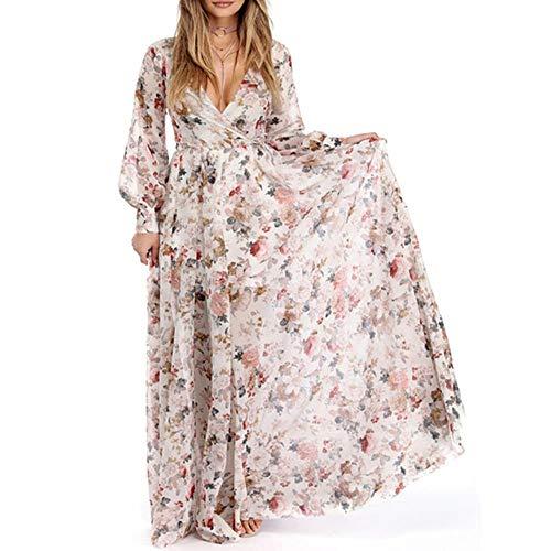 MZLJL Casual Dresses,Joineles Floral Print Belted Bohemia Dress Women Autumn Long Maxi Dress Sexy V Neck Long Sleeve Beach Boho Dress Casual Vestidos,Beige,XXL - Belted Floral Print Kleid