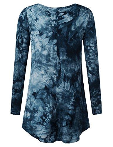 BaiShengGT Femme T-Shirts Tunique Tops à Manches Longues Fluide Col-V Casual Loose Bleu