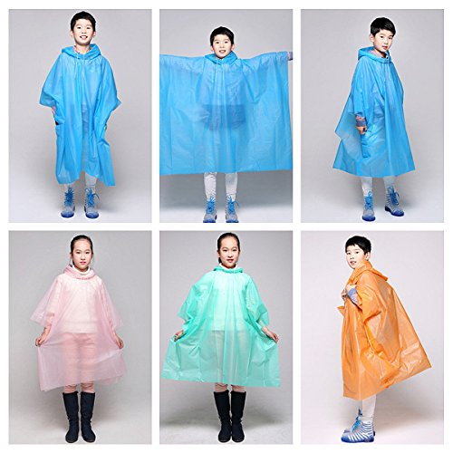 Bazaar Kinder Kinder PEVA Wasserdicht mit Kapuze Poncho Leichte Abdeckung Anzug tragen Beschützer Außenmantel (Anzug Leichte)