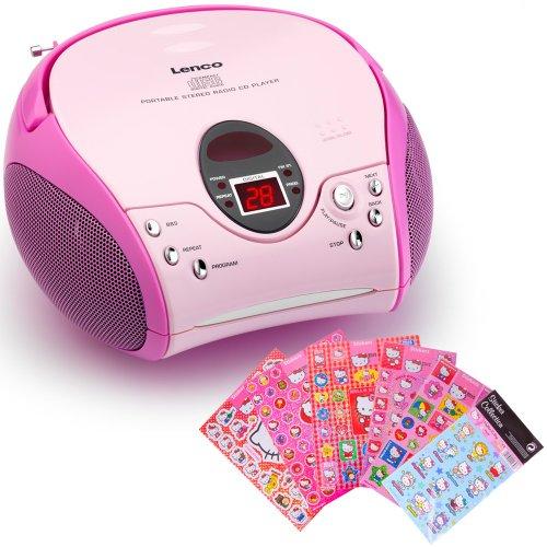 Lenco Kinder Mädchen Stereoanlage CD-Player MP3 Musikanlage Radio Radiorecorder Pink inklusive Hello Kitty Sticker (Cd Hello Player Kitty Radio)