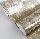 DooXoo - Papel de pared autoadhesivo de aluminio y pl¨¢stico resistente al agua con dise?o de azulejos para cocinas y ba?os (45 x 200 cm), pvc, marr¨®