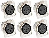 Adam Hall Connectors 7837 - 6er Set XLR-Einbaubuchse female 3-pol D-Typ silber Einbaukupplung