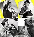 Vintage cappelli uncinetto con corrispondenti modelli di borsa all'uncinetto